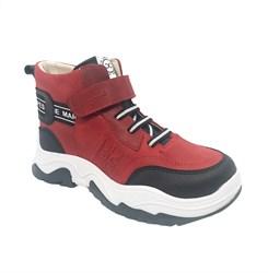 Ботинки демисезонные, цвет красный,  шнурки/липучка