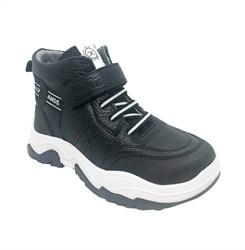 Ботинки демисезонные, цвет черный, шнурки/липучка