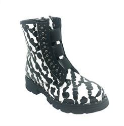 Ботинки демисезонные, цвет черный/белый, регулирующие резинки