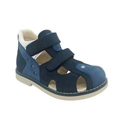 Сандалии ортопедические, для мальчика, цвет темно-синий/синий, на липучках