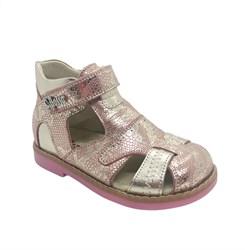 Сандалии ортопедические для девочки, цвет розовый/серебристый, на липучке