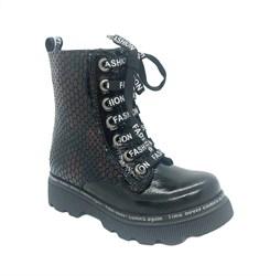 Ботинки демисезонные для девочки, цвет темно-бордовый, молния/шнурки