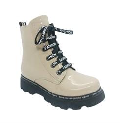 Ботинки демисезонные для девочки, цвет бежевый, молния/шнурки