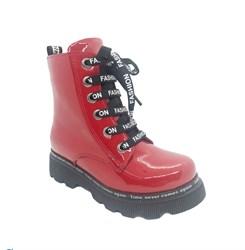 Ботинки демисезонные для девочки, цвет красный, молния/шнурки