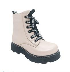 Ботинки демисезонные для девочки, цвет пудровый, молния/шнурки