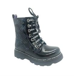 Ботинки демисезонные для девочки, цвет темно-синий, молния/шнурки