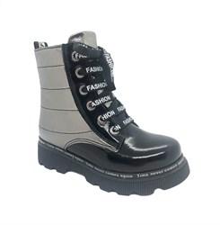 Ботинки демисезонные для девочки, цвет серебристый/черный, молния/шнурки
