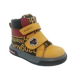 Ботинки для мальчика, цвет песочный/черный/бордовый (принт в виде букв), на липучках