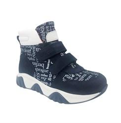 Ботинки для мальчика, цвет темно-синий (принт в виде букв), на липучках