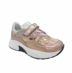 Кроссовки для девочки, цвет пудровый, на липучке/шнурки