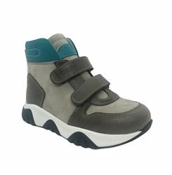 Ботинки для мальчика, цвет серые/темно-серый, на липучках