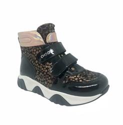 Ботинки для девочки, цвет черный/бежевый (горох), на липучках
