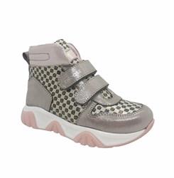 Ботинки для девочки, цвет серебристо-пудровый (горох), на липучках