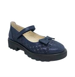 Туфли школьные для девочки, цвет темно-синий, ремешок на липучке