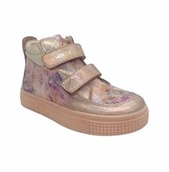 Ботинки для девочки, цвет золотисто-пудровый (узор), на липучках