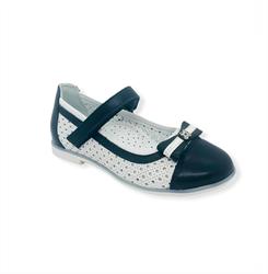 Туфли для девочки, цвет белый/синий, ремешок на липучке