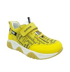 Кроссовки для мальчика, цвет желтый, с принтом, шнурки/липучка
