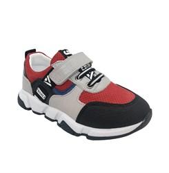 Кроссовки для мальчика, цвет серый/красный, липучка/шнурки