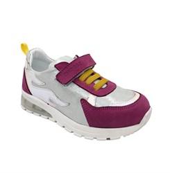 Кроссовки со светящейся подошвой для девочки, цвет серебристый/малиновый, декор.элементы