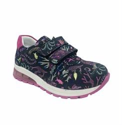 Кроссовки со светящейся подошвой, для девочки, цвет синий с рисунком