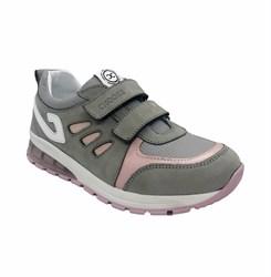 Кроссовки для девочки, цвет серый с розовыми элементами, со светящейся подошвой