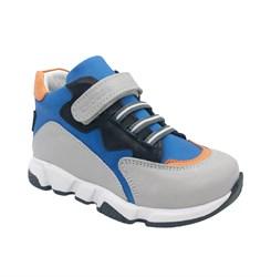 Ботинки для мальчика, цвет серый/голубой, на липучке