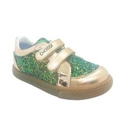 Кроссовки для девочки, цвет золотистый/зеленый, на липучках