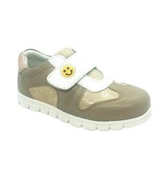 Кроссовки для девочки, цвет бежевый/белый, на липучке