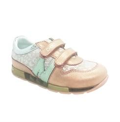 Кроссовки для девочки, цвет золотисто-пудровый, на липучках