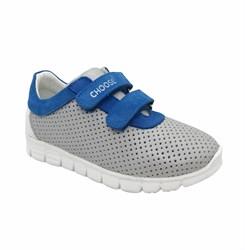 Кроссовки для мальчика, цвет серый/синий, на липучках, перфорация