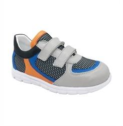 Кроссовки для мальчика, цвет серый/оранжевый, на липучках
