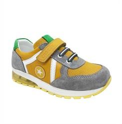 Кроссовки со светящейся подошвой для мальчика, оранжевого цвета, липучка-шнурки, эмблема