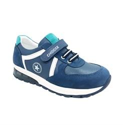 Кроссовки для мальчика, цв.голубой, липучка-шнурки, светящаяся подошва