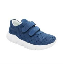 Кроссовки для мальчика, цвет синий, белая подошва, на липучках, перфорация
