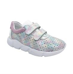 Кроссовки для девочки, цвет серебристый/розовый, на липучках, перфорация