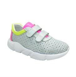 Кроссовки для девочки, цвет серебристо-розовый, на липучках, перфорация