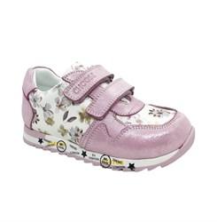 Кроссовки летние для девочки, цвет серебристо-лиловый (цветочный принт), на липучках