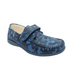 Мокасины для мальчика, цвет голубой камуфляж, на липучке
