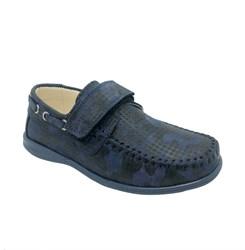 Мокасины для мальчика, цвет темно-синий камуфляж, на липучке