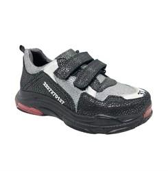 Кроссовки для мальчика, цвет темно-серый/серый,  на липучках