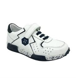 Кроссовки для мальчика, цвет белый/синий, шнурки/молния