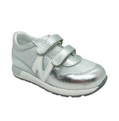 Кроссовки для девочки, цвет серебристый,на липучках