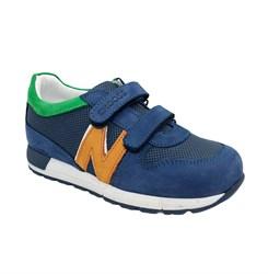 Кроссовки для мальчика, цвет голубой/оранжевый, на липучках