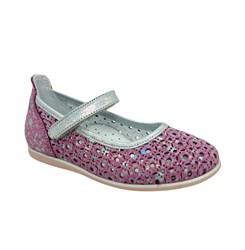 Туфли для девочки, цвет розовый, ремешок на липучке, перфорация
