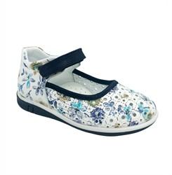 Туфли для девочки, цвет белый (цветочный принт), ремешок на липучке, перфорация