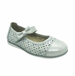 Туфли для девочки, цвет белый/серебристый, ремешок на липучке, перфорация