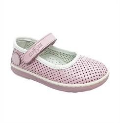 Туфли для девочки, цвет розовый/белый, ремешок на липучке, перфорация