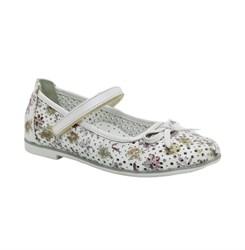Туфли для девочки, цвет белый (цветочный узор), ремешок на липучке, перфорация