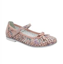 Туфли для девочки, цвет розовый (цветочный принт), ремешок на липучк, перфорация