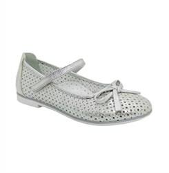 Туфли для девочки, цвет серебристый, ремешок на липучке, перфорация, небольшой каблук